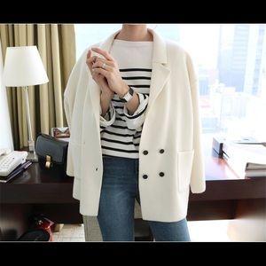 Cream white double breasted blazer sweater